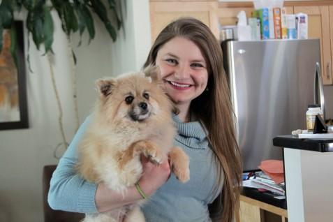 Camille Bates, who does community relations for Midwest Animal Rescue & Services, with Mouse, a rescue from the South Korean dog meat farm. Hannah Black / RiverTown Multimedia