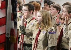 Scout Ellen Greene (center) and other members of Troop 7559 at a March 4 meeting at Woodbury Lutheran Church. Hannah Black / RiverTown Multimedia